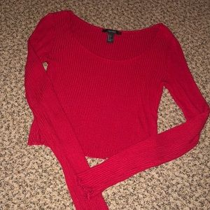 Cropped Red Long Sleeve Tee